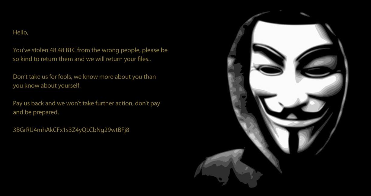 Снимок экрана программы-вымогателя Crypt888