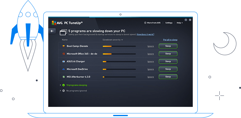 Interface do AVG TuneUp - 5 problemas estão a tornar o PC mais lento