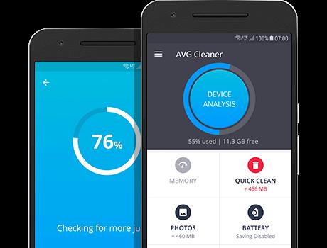 Hlavní ovládací panel aplikace AVG Cleaner pro Android