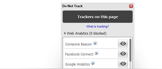 Interface da funcionalidade Do Not Track