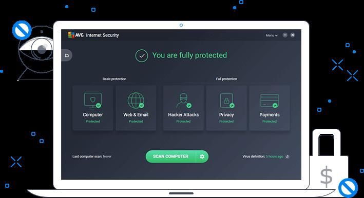AVG Internet Security 데이터 안전 화면이 표시된 흰색 랩톱