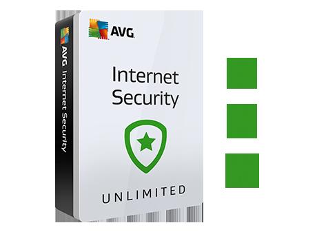 Capture d'écran du produit Internet Security avec des icônes Windows, Android et Mac.