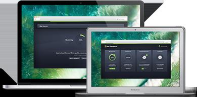 Macbook con interfaccia utente di AntiVirus Mac Business Edition