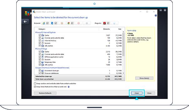 Czyszczenie przeglądarki przy użyciu programu PC TuneUp
