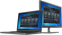 アンチウイルス ビジネス エディション UI を表示するノート パソコンと PC