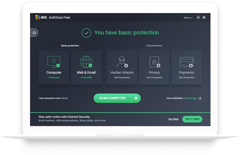 AVG 無料アンチウイルスが表示された白いノートパソコン
