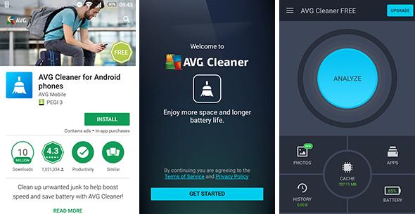 AVG Cleaner, Cleaner FREE, Benutzeroberfläche für Android, 590 x 305 px