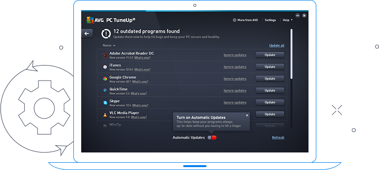 Interface do AVG TuneUp - 12 programas desatualizados encontrados