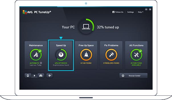 Dashboard van PC TuneUp