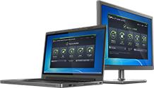 Notebook und PC mit Benutzeroberfläche von AntiVirus Business Edition