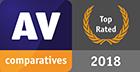 Riconoscimento Prodotto Top Rated 2018 di AV-Comparatives