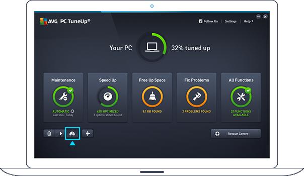 PC TuneUp-instrumentpanelet i turbomodus