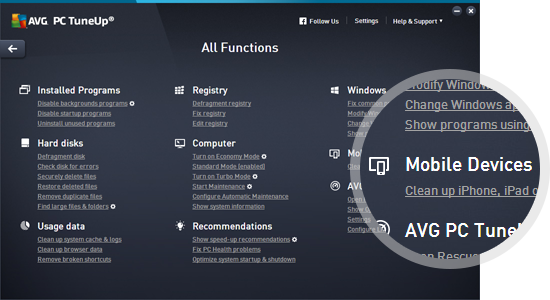Používateľské rozhranie AVG PC TuneUp