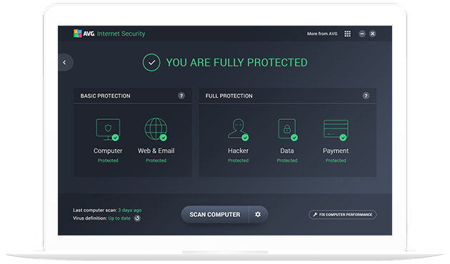 Gebruikersinterface Internet Security op witte laptop