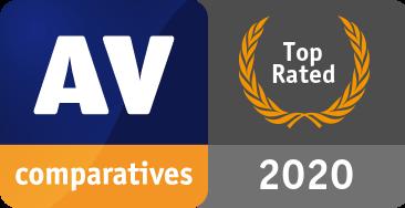 Riconoscimento Prodotto Top Rated 2020 di AV-Comparatives