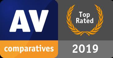 Riconoscimento Prodotto Top Rated 2019 di AV-Comparatives