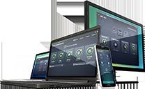 Diverse Geräte mit Benutzeroberflächen von Business Edition-Produkten