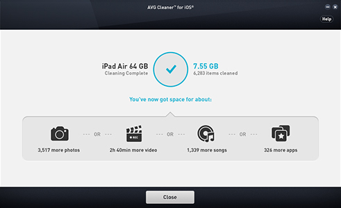 UI do AVG Cleaner para iOS