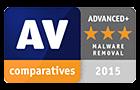 Mention élimination de malwares AV-Comparatives Advanced+ 2015