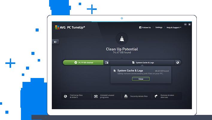 Interfejs użytkownika programu AVG TuneUp — możliwości oczyszczania