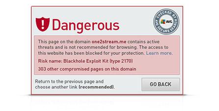 Výstraha nástroje Secure Search na nebezpečnou webovou stránku