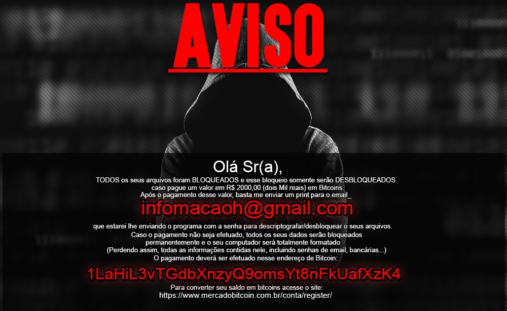 Captura de tela do ransomware Crypt888