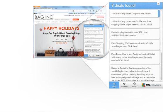 Uživatelské rozhraní nástroje Secure Search snalezenými výhodnými nabídkami