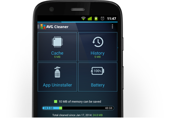 Motorolag (połowa), AVG Cleaner, interfejs użytkownika, 380x239 pikseli