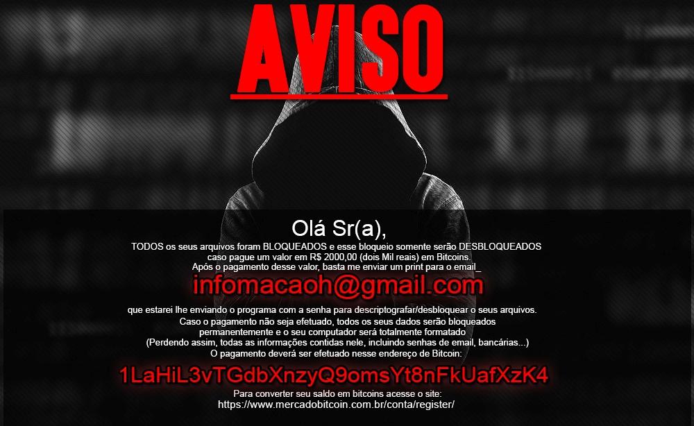Captura de pantalla del ransomware Crypt888