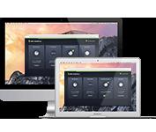 Komputery Mac iMacbook z interfejsem użytkownika programu AVG Protection