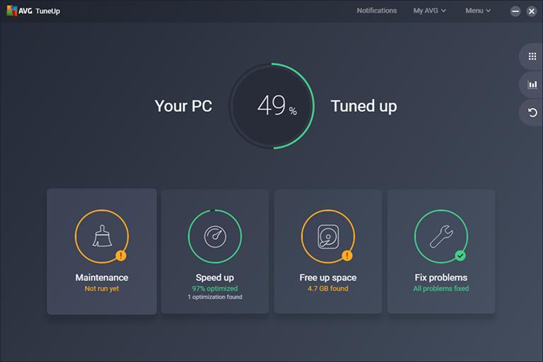 Interfaz de la aplicación AVG PC TuneUp