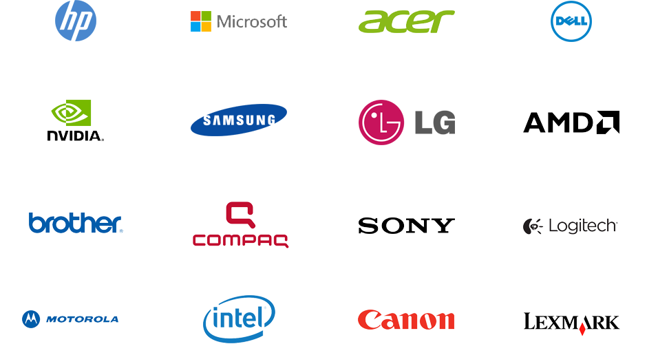Afbeelding met 16 merken van apparaten voor Driver Updater