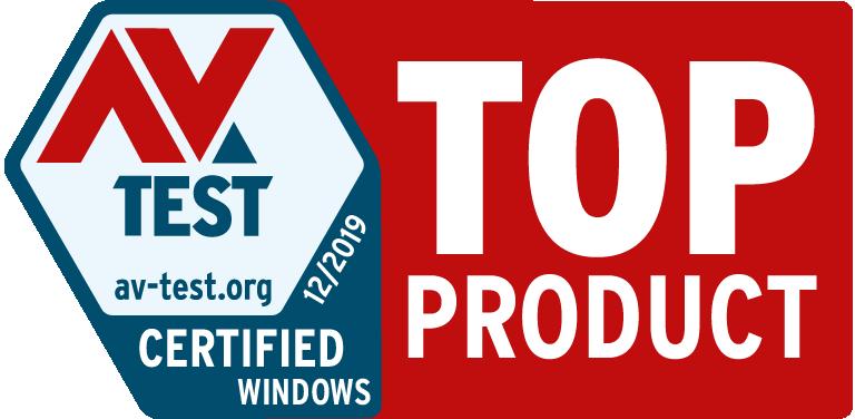 AV-TEST produkt med toppvurdering 2019