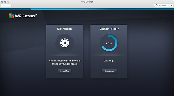 AVG Cleaner pro Mac – probíhající vyhledávání duplicitních souborů