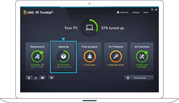 Painel do PC TuneUp