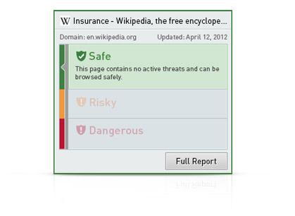 Interfaz de usuario de Secure Search con informe breve de la seguridad del sitio web