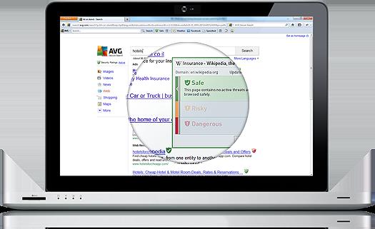 Banner de Secure Search, PC portátil, detalle ampliado de la pantalla, 525 x 321px