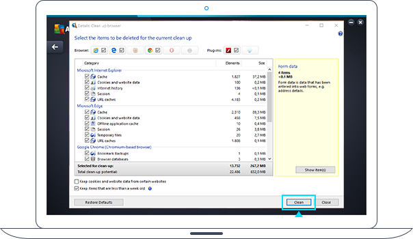 PC TuneUp: очистка браузера