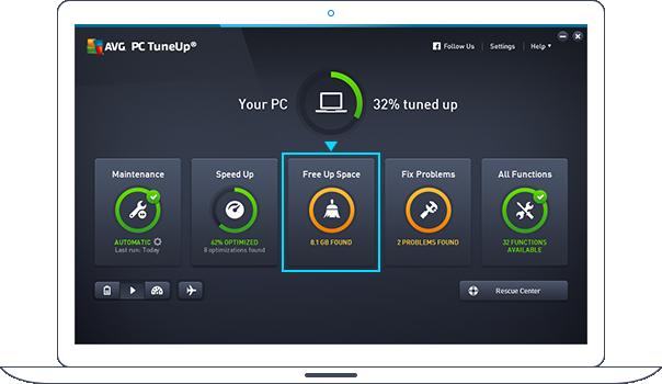 Основная панель PC TuneUp