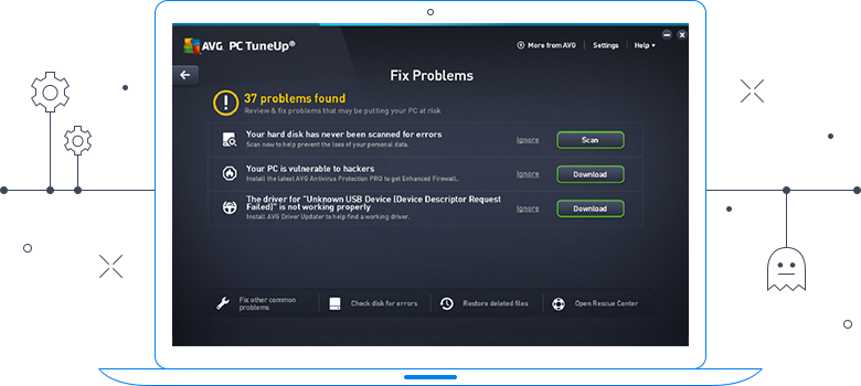 Interface do AVG TuneUp - Corrigir problemas