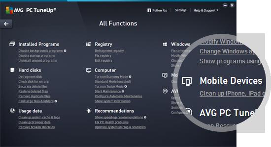 Uživatelské rozhraní aplikace AVG PC TuneUp