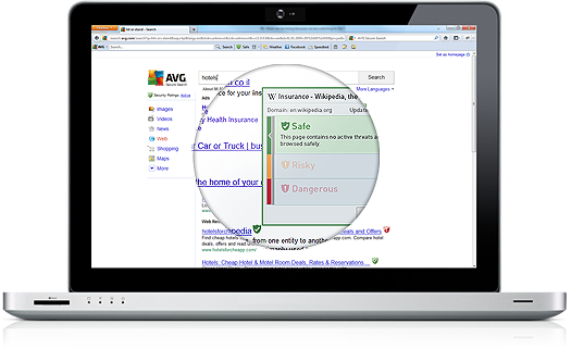 Banner de Secure Search, portátil, detalhe ampliado do ecrã, 525 x 321 px