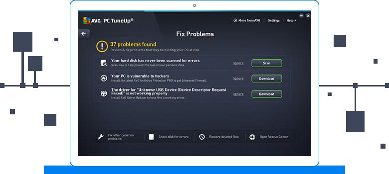 Uživatelské rozhraní aplikace AVG TuneUp – odstranění problémů