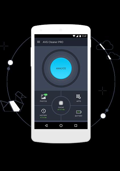 Uživatelské rozhraní aplikace AVG Cleaner PRO – obrazovka analýzy