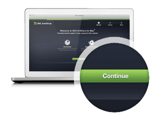 Business AntiVirus for Mac installation step three with continue button
