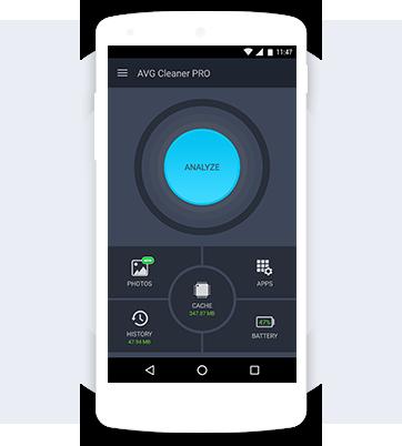 顯示 AVG Cleaner PRO 介面的白色手機