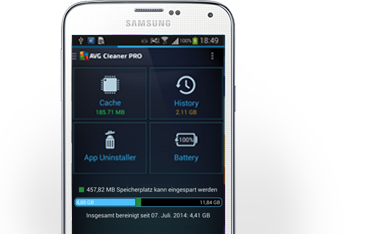 Galaxy s5, Samsung mobiltelefon halv, AVG Cleaner PRO, grensesnitt, 381 x 234 px