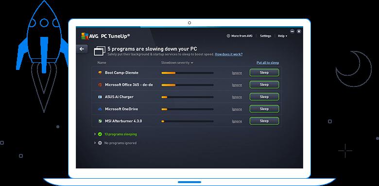 Interfejs użytkownika programu AVG TuneUp — 5problemów spowalniających komputer