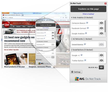 Interfaccia AVG Secure Search, risultati Do Not Track