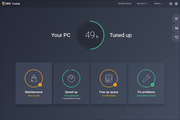 Interface do aplicativo do AVG PC TuneUp